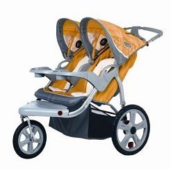 2010 InSTEP Grand Safari Swivel Double Jogging Stroller In Yellow/Gray