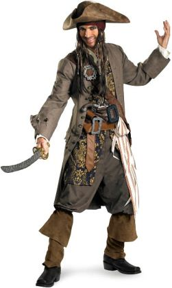 Pirates Of The Caribbean - Captain Jack Sparrow Theatrical Adult Costume: X-Large (42-46)
