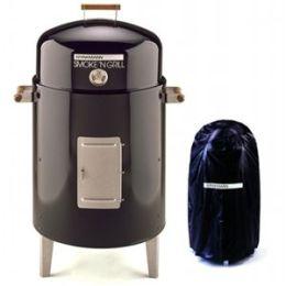 Brinkmann 810-5301-V Smoke N Grill Charcoal with Vinyl Cover- Black