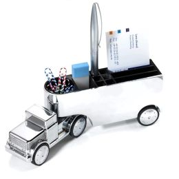 Trucker Chrome Paperweight and Pen Holder with Paper Clip Magnet