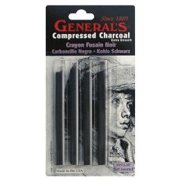 Compressed Charcoal Sticks 4/Pkg-Black - Soft Assorted