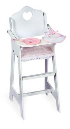 White Doll High Chair, Pink Gingham, Plate/Bib/Spoon