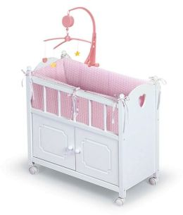 Doll Crib w/Cabinet, Mobile, and Bedding