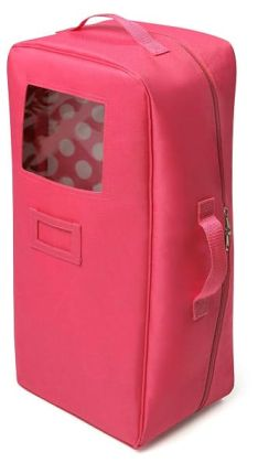 Doll Travel Case with Bed and Bedding - Dark Pink