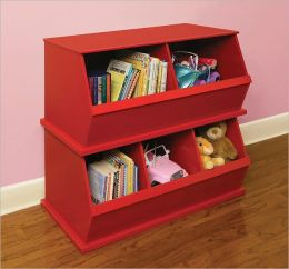 Two Bin Storage Cubby - Red