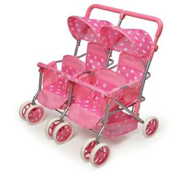 Quad Deluxe Doll Stroller - Pink with Polka Dots