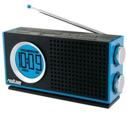 Realtone RT212L AM/FM Portable Dual Alarm Clock Radio - Blue