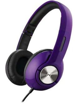 iHome IB45UC On-Ear Foldable Headphones with Pouch - Purple