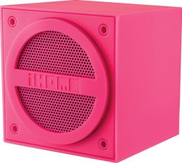 iHome iBT16PC Bluetooth Rechargeable Mini Speaker Cube in Rubberized Finish - Pink