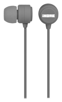 iHome iB22G Rubberized Noise Isolating Earphones with Pouch - Slate Gray
