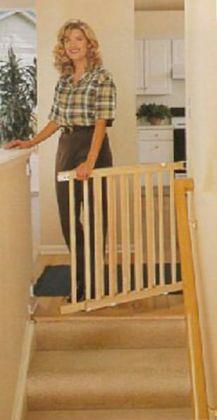 Evenflo Wood Walkthru Top of Stairs Swing Gate 27-42 Wide