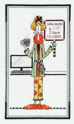 Dolly Mama's Who Needs A Life Counted Cross Stitch Kit-6