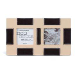 Kishima Leather Photo Frame - Brown/Cream