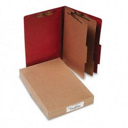 Acco 16036 Pressboard 25-Point Classification Folder Lgl 6-Section Earth Red 10/bx