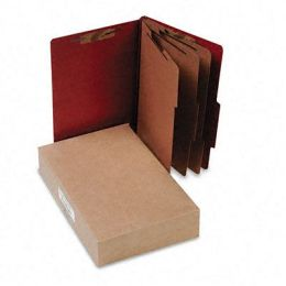 Acco 16038 Pressboard 25-Point Classification Folder Lgl 8-Section Earth Red 10/bx