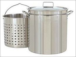 Bayou Classic 1136 36-Qt. Fryer- Steamer with Lid and Basket - Stainless