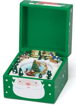 Santa Green Pom Pom Music Box 5x5x5