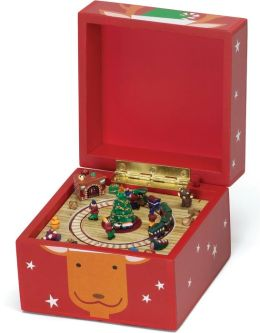 Reindeer Red Pom Pom Music Box 5x5x5