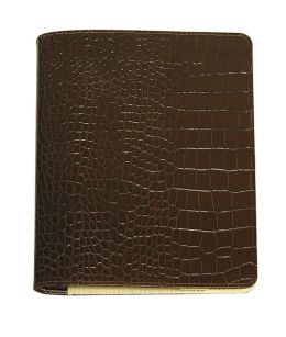 Brown Croc Embossed Refillable Journal w/Refill (9'')