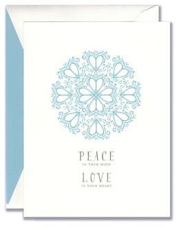 PEACE LOVE DECORATIVE HEARTS CHRISTMAS BOXED CARD
