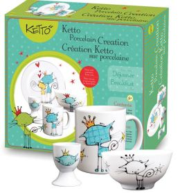 KETTO Paint-it-yourself Breakfast Set - Cat Theme