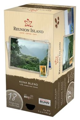 Reunion Island™ RI58012 Kona Blend Single Cup Coffee Pods, 18-count