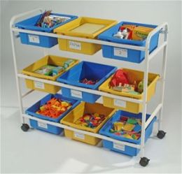 Copernicus CC005-9-WBY Multi-Purpose Cart with 5 blue and 4 yellow open tubs