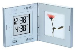 Dual Time Travel Alarm Clock and Frame