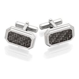 Men s STEL Stainless Steel Cufflinks with Carbon Fiber Inlay Accent- 80821