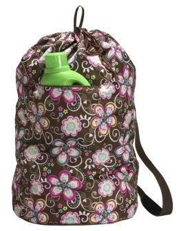 Brown Flower Laundry Bag