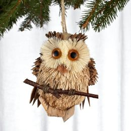 Natural Owl On Perch Ornament