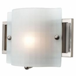 Access Lighting 53311-BS-CKF Nara 1 Light Checkered Frosted Glass Wall and Vanity - Brushed Steel