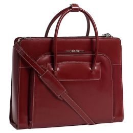 Mcklein USA 94336 Lake Forest W Series Leather Ladies Briefcase With Removable Sleeve - Red