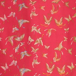 Butterfly Satin Brocade Decorative Paper - Magenta
