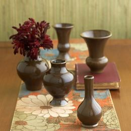Williamsburg Chinois set of 5 Mini Vases Chocolate