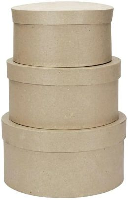Paper Mache Round Box Set Of 3-8