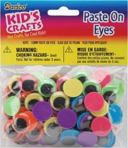 Paste On Wiggle Eyes 15mm 80/Pkg-Black on Neon