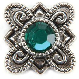 Metal Slider Bead W/Swarovski Crystal 10/Pkg-Flower/Emerald