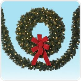 2-pack of 18' Merry Mixed Pine Artificial Christmas Garland with Clear Lights