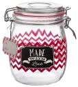 Product Image. Title: Red Chevron Glass Candy Jar 25 oz.