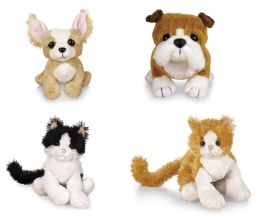 Lil Webkinz 4 Piece Set Orange & White Cat, Black and White Cat, Chihuahua, Bulldog