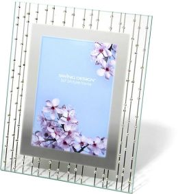 Celestial Clear Mirrored Border with Rhinestones Embellishments Frame 5x7