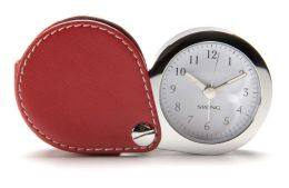 Red Leather Travel Alarm Clock with Glow In The Dark Hands