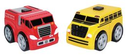 World of Wheels Jr - Ratchet Racers School Bus & Fire Truck Vehicles Set