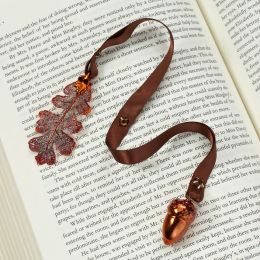 Lacy Oak Leaf & Acorn Copper Ribbon Bookmark
