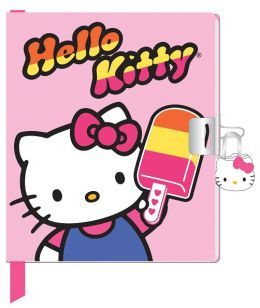Hello Kitty Bubble Gum Lock & Key Bound Diary 5.25 X 6.25