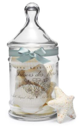 Tresors des Mers Seashell Shaped French Milled Soaps in Apothecary Jar - Set of 9