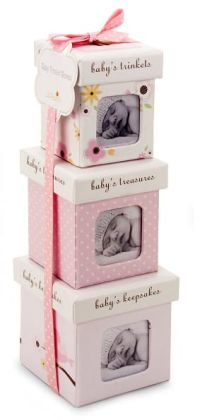 Pink Bird Trinket Box Set of 3