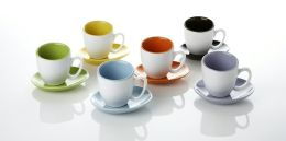 Contempory Glazed Espresso Set in Assorted Colors -Set of 6