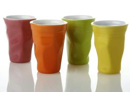 Contemporary Glazed Crushed 11 oz. Mugs in Assorted Colors -Set of 4